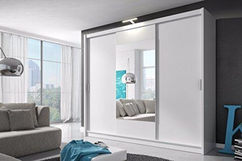 Selsey Patti Big - schuifdeurkast kledingkast met schuifdeuren, 1 kledingstang, LED-verlichting en spiegel (250 cm, drie kleurvarianten)