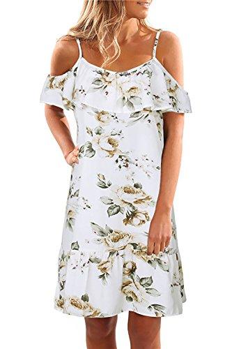 Yieune Sommerkleider Damen Blumenmuster Schulterkleid Casual Kurzes Strandkleid Langes Abendkleid Cocktailkleid (Weiß XL)