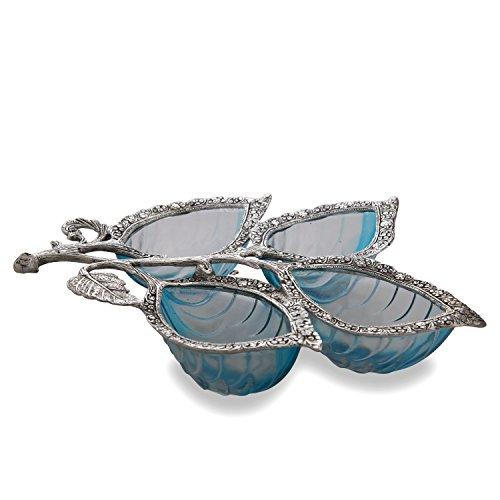 Homesake Silver 4 Leaf Glass & Metal Serving Tray