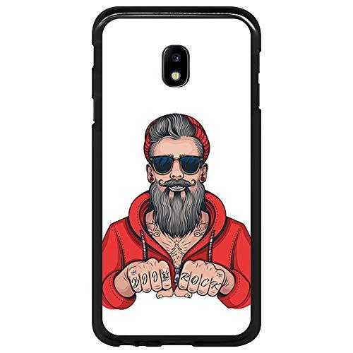 BJJ SHOP Schwarz Hülle für [ Samsung Galaxy J3 2017 ], Klar Flexible Silikonhülle, Design: Hipster Man, Tattoos mit Bart und Sonnenbrille
