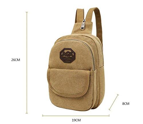 Segeltuch-Schulter-Beutel-Temperament-einfacher Im Freien Beiläufiger Rucksack,Khaki Blue