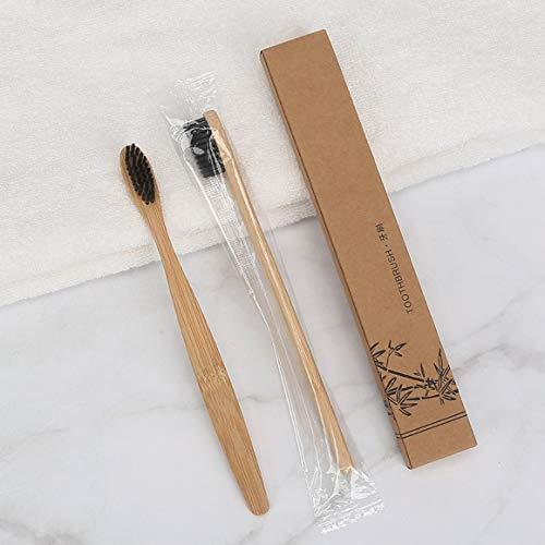 Funnyrunstore Cepillo de dientes de bambú Cepillo de dientes de bambú Cepillo de dientes de bambú Mango de bambú natural Madera Saludable Ecológico Cabello suave Negro