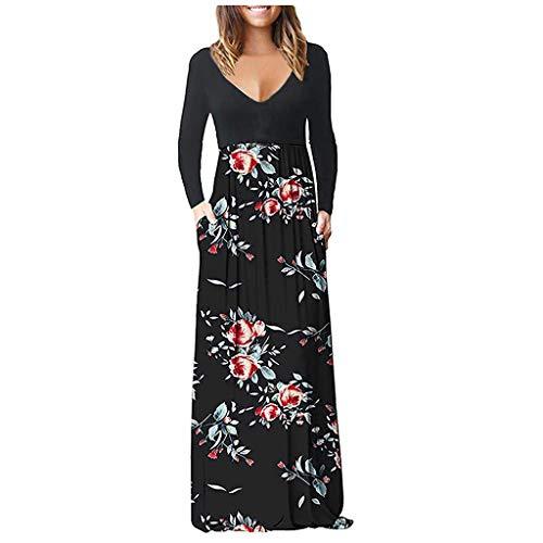 Zegeey Damen Kleid Sommer Kurzarm Schulterfrei Einfarbig Blumenkleid Maxi Kleid A-Linie Kleider Vintage Elegant LäSsige Kleidung Rundhals Basic Casual Strandkleider(Z5-rot,XL)