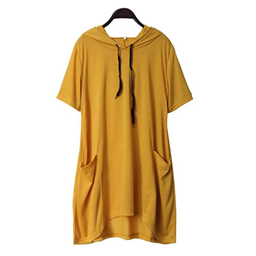 iHENGH Damen Top Bluse Bequem Lässig Mode T-Shirt Blusen Frauen beiläufiges festes Katzen Ohr mit Kapuze kurzes Hülsen Taschen Oberseiten Blusen Hemd(Gelb-5, - Top Des Line Dance Kostüm