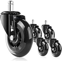 amzdeal 5pcs roulettes Silencieuses 11mm pour Chaise de Bureau Lot de roulettes 360° Pivotantes Universelles de Remplacement Résistantes à Abrasion sur Sol Dur avec Capacité de Charge jusqu'à 650lb