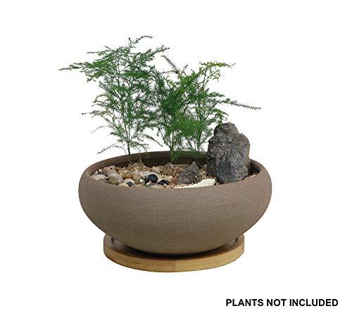 MUZHI Bonsai-Topf aus Keramik, rund, unglasiert, mit Bambus-Tablett, groß, raue Töpferei, Sukkulenten-Übertopf mit Drainageloch 20,3 cm
