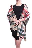 Großes Damen Schultertuch Wende Schal Umhang Cape mit Fransen Muster kariert - erhältlich in verschiedenen Farben