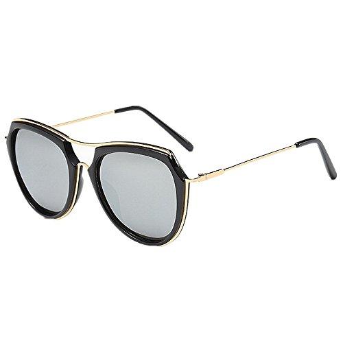 Ppy778 Sonnenbrillen Herren Polarisierte übergroße Metallrahmen Outdoor Driving UV-Schutzbrille (Color : Black)