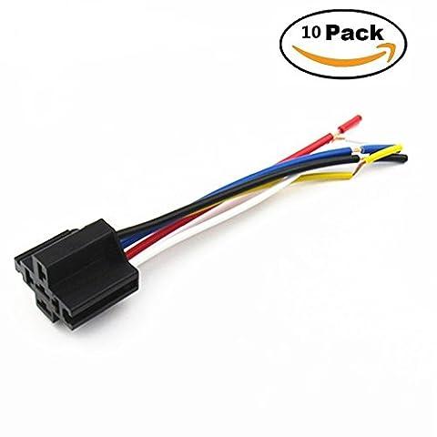 Shenlang 40A 5-Pin Interlocking Relay Connector Socket Terminal Wiring 12V