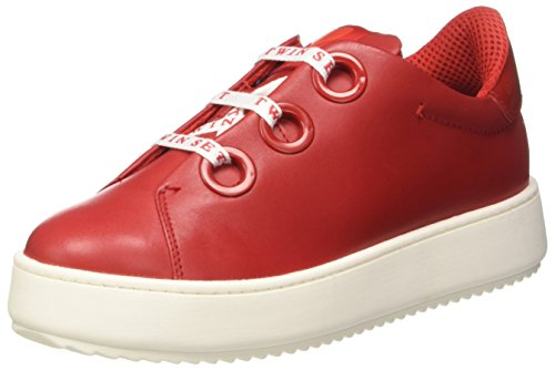 TWIN SET Cs7ph3, Sneaker a Collo Basso Donna Rosso (Ultra Red)