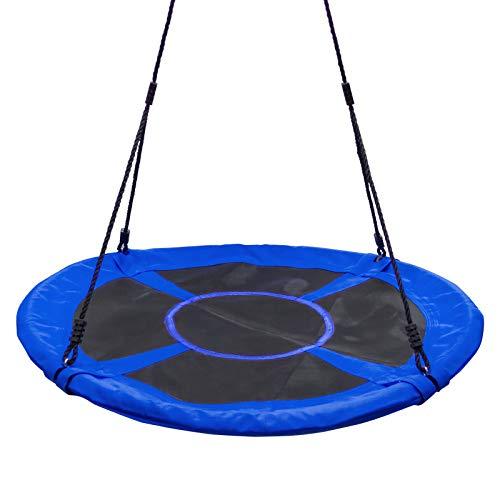 Yorbay Nestschaukel Tellerschaukel Kinder Rundschaukel Outdoor Ø 120 cm, Blau, kein verbleichen, bis 200 kg belastbar