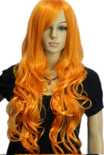 QIYUN.Z Haarteile Damen Perücken Feuer Orange Lange Wellenförmige Lockige Hitzebeständige Faser Synthetische Haar Voller Anime Cosplay Kostüm Perücke