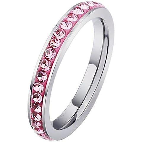 Acciaio inox Canale CZ Set Classic fidanzamento Band coda Anello Donna Eternity Amore di (14k Diamante Tiffany Anello Setting)