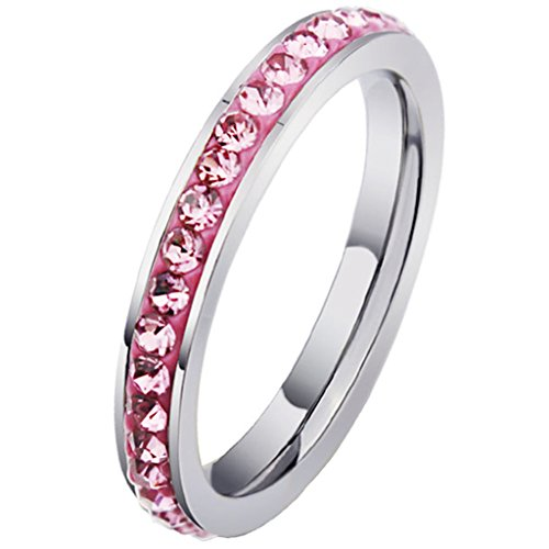 Donne Acciaio inox Canale CZ eternità promessa Rosa anello coda 3MM Dimensione 20 di AieniD