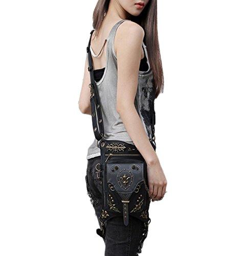 Steam Punk Motorrad Taille Pack Herren Frauen Handtasche Messenger Bag Vintage Retro Rock Tasche... Schwarz