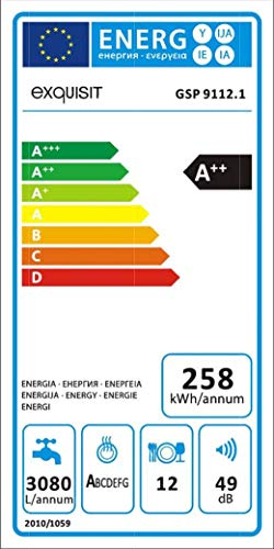 Exquisit GSP 9112.1 Spülmaschine Freistehend 12 Stellen A++ - Spülmaschinen (Freistehend, Weiß, Gesamtgröße (60 cm), Weiß, Knöpfe, LED)