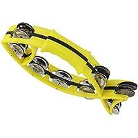 ULTNICE Tamborina de metal en forma de pez de mano instrumento de percusión para iglesia (amarillo)