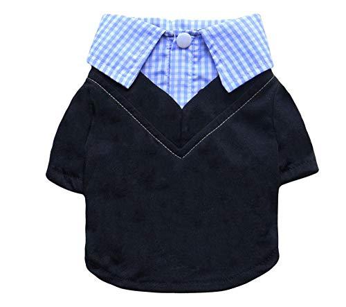 mddiksa Haustierkleidung Kleiner Hund blauen Hemdkragen gefälschte Zwei Haustierhemd Hund Kleidung liefert @XS