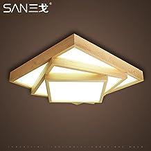 Nordic Holz LED Dimmbar Deckenlampe Rechteckig Schlafzimmer Wohnzimmer Modernen Minimalistischen Japanischen Stil Tatami Schaffell Leselampe 630