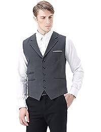 Zicac Herren Top Design Modische Casual Ärmelloses Vintage Style Slim Fit Skinny Kleid Weste V-Ausschnitt Weste Business Anzug Jacke