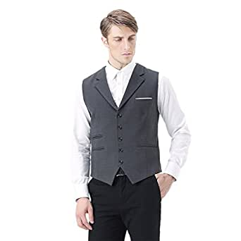 Zicac Mens Top Designed Fashionable Gilet Casual Sleeveless Vintage Style Slim Fit Skinny Dress Vest Classic V-neck Waistcoat Business Blazer Suit Jacket
