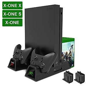 FYOUNG Xbox One X Console Vertical Stand, Xbox One X Vertikaler Ständer Cooling Fan, Controller Ladestation für Xbox One X, Xbox One X Zubehör–nur für Xbox One X