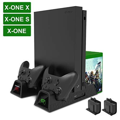 Support Xbox One / One S / One X, Support de Charge Vertical Multifonction Fyoung avec Ventilateur de Refroidissement, Stockage de Jeu, Double Station de Charge pour Xbox One / One X / Xbox Elite Controller (Noir)
