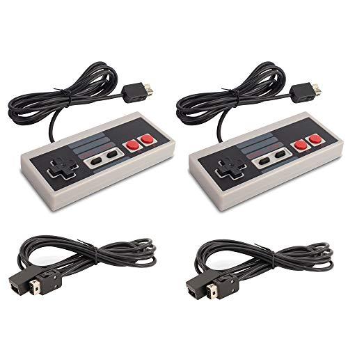2 Stück NES Controller Gamepad mit 2 Pack 1,8 Meter Verlängerungskabel passend für Nintendo NES Classic Mini Retro Gaming Konsole, Grau (DOPPELPACK) 3,6m (Retro Controller Nintendo)