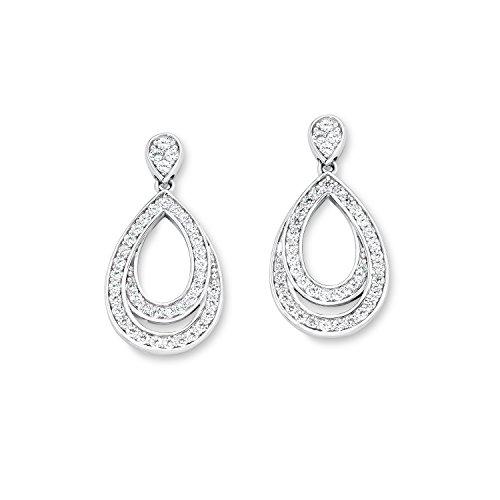 s. Oliver Damen-Ohrhänger 925 Silber rhodiniert Zirkonia weiß Rundschliff - 540421