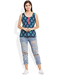 Very Me Women's Cotton Printed Short Top Size:- 40 / Xxl (Blue)