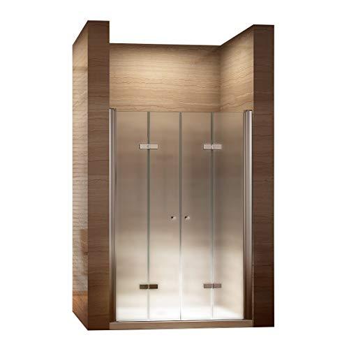 dusch falttuer i-flair Satinierte Falttüren 68-160 cm, Duschtür mit 6mm nanobeschichtetem Sicherheitsglas (75cm - Verstellbar: 72-76 cm)