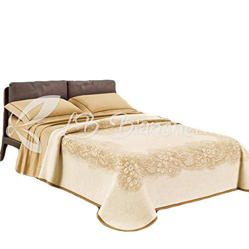 R.p. coperta in lana elisabeth - made in italy - 2 piazze. letto matrimoniale - beige