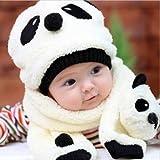 Tanzimarket - De alta calidad de 5 colores Conjuntos de bebé de invierno de terciopelo de la historieta de la panda del sombrero de la bufanda - Beige