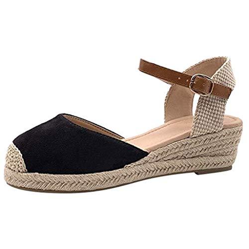 Patent Leder Knöchel Gurt (QUINTRA_GSS Keile Damen Schnalle Knöchel Gurt Sandalen Keile Sandalen Sommer Weben Atmungsaktive Schuhe)