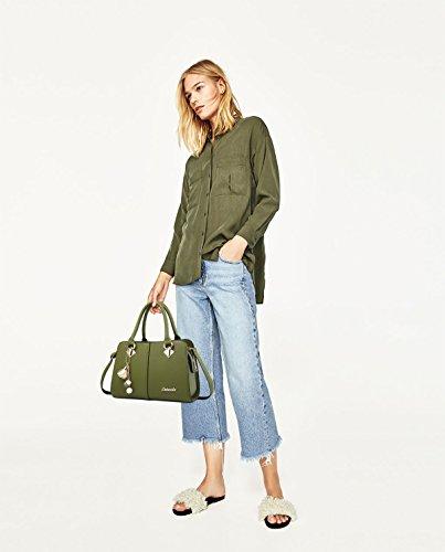 Sunas Borsa superiore della borsa del messaggero della spalla della cucitura della borsa di traversa della borsa delle nuove signore di modo verde