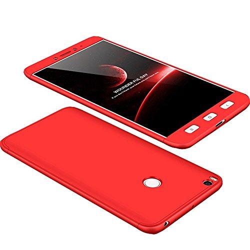 Funda Xiaomi Mi Max2 Max 2, 360 Grados Integral Carcasa Cuerpo Completo Caso Cubierta, 3 en 1 Híbrido Anti-Choque Snap On Bumper Case, Anti-Arañazos Anti-Huellas dactilares Duro Ligero Shell (Rojo)