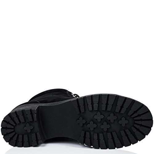 SPYLOVEBUY BLUEFIN Femmes Lacet à Talon Bloc Bottines Chaussures Noir - Simili Daim