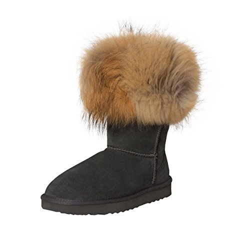 SKUTARI Damen Boots Fox Indian Schlupfstiefel Warm Gefüttert Wildleder-Stiefel, Grau, Größe 37