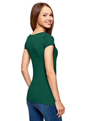 oodji Ultra Damen Tailliertes T-Shirt Basic (3er-Pack) Grün (6E00N)