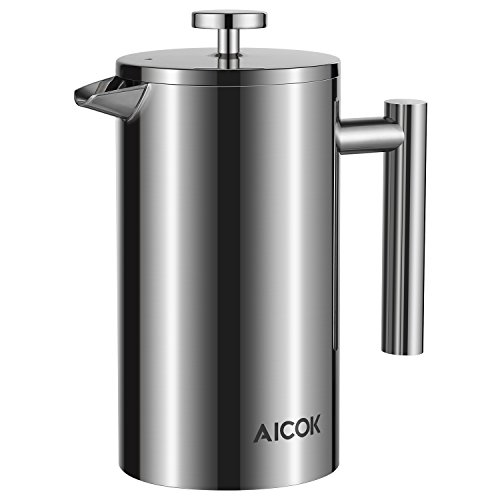 Aicok-Cafetiere-French-Press-Stainless-Steel-Double-Wall-Coffee-Maker-Coffee-Espresso-Filter-Tea-Pot-8-Cups-1L-34-oz