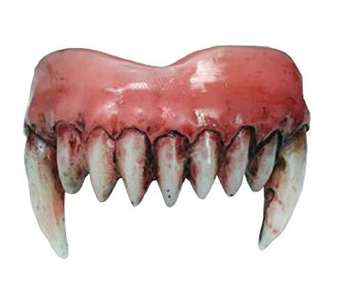 shoperama Blutige Spitze Zähne für Dämon und Teufel mit Thermoplast-Masse Horror-Gebiss Halloween Zombie Kostüm-Zubehör