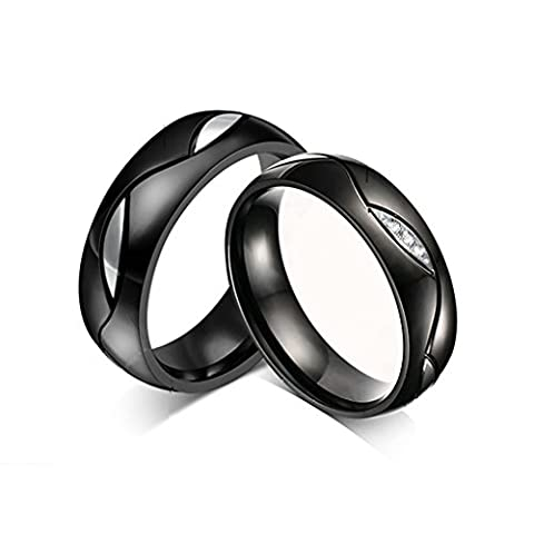 Bishilin 2Pcs Set Stainless Steel His And Hers Couple Wedding Ring Sets Black Women Size R 1/2 & Men Size T