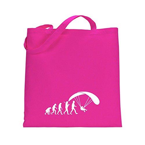 Shirtfun24 Baumwolltasche EVOLUTION GLEITSCHIRM Paragliding fliegen, navy (blau) fuchsia pink rosa