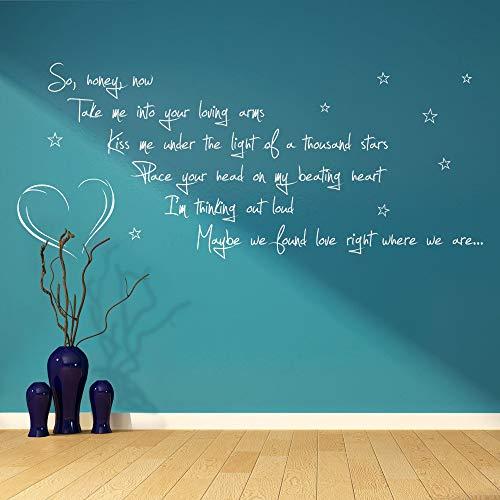 wlwhaoo Sheeran Denken laut Song Lyrics Vers Zitat Vinyl Wall Art Sticker Wohnzimmer Küche Home Decor Wall Decals gelb 25 x 58 cm (Die Lyrics Von Rihanna)