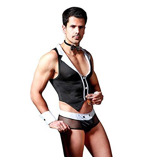 Boxer-outfit (Männer Outfits tenue sexy Homosexuell Cosplay Schwarzes Kostüm Tops Boxer Briefs Unterwäsche mit Kragen)