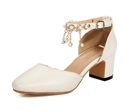 VogueZone009 Femme Carré Boucle Pu Cuir Mosaïque à Talon Correct Chaussures Légeres Blanc
