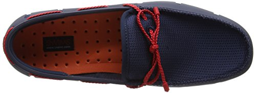 Swims Braided Lace Loafer, Chaussures Bateau Homme Blue (Navy/Red)