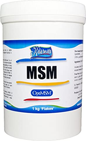 Kala Health - OptiMSM® (Methylsulfonylmethane) MSM Powder Coarse Flakes (Crystals) 1000g, pure MSM Supplement, produced in the United States of America.