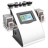5 en 1 Ultrasonido Dispositivo de Radiofrecuencia de Cavitación para Celulitis Grasa 40KHz Abdomen Quema de Grasa Multipolo RF VacíO Masaje Cuidado Facial(EU)