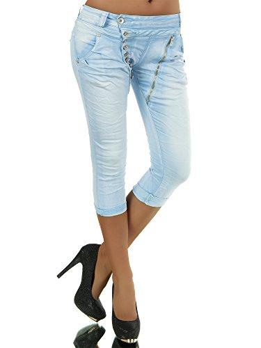 N123 Damen 3/4 Capri Jeans Hose Shorts Damenjeans Hüftjeans Caprijeans Boyfriend, Farben:Hellblau;Größen:40 (L)